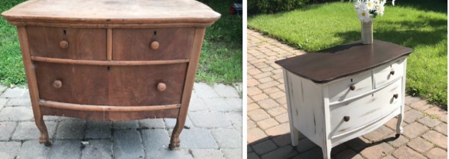 refinished furniture, before and after