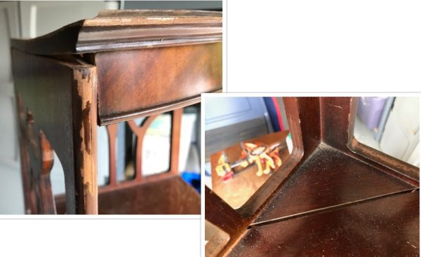 corner shelves, damage, repair, painted furniture, makeover, before and after