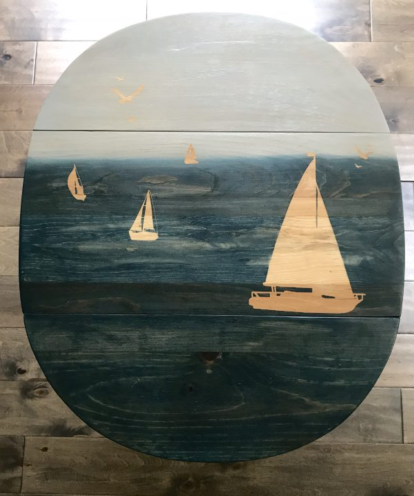 drop leaf table, stain art, Amy's Upcycles, Pottstown PA, TCACC, upcycle, painted furniture