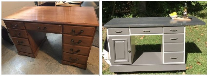 Painted Furniture, Amy's Upcycles, Pottstown PA, desk turned kitchen island