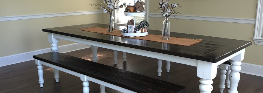 Amy's Upcycles, upcycle, custom built, dining table, farm style, farm table, TCACC, Pottstown, PA, Custom built