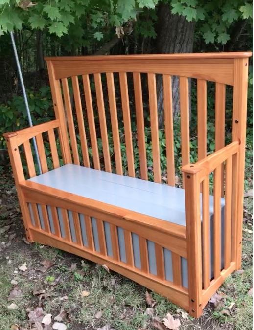 crib, bench, repurpose