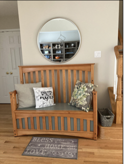 Custom built bench from repurposed crib, honey stain and gray-green paint