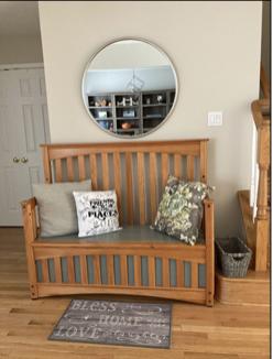 Custom built bench from repurposed crib, honey stain and gray-green paint