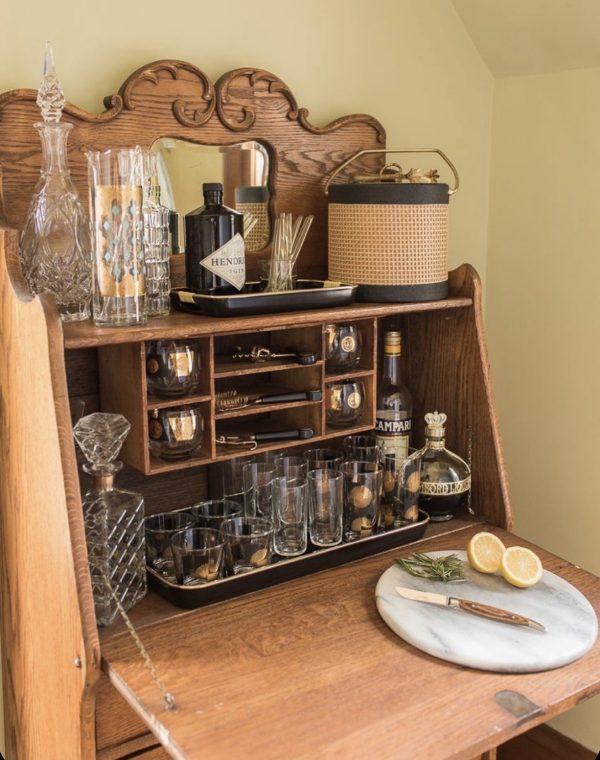 secretary repurposed as bar