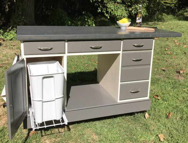 desk repurposed into kitchen island