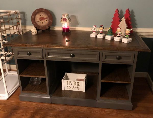 desk repurposed into a sideboard or buffet