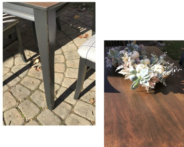 Mission style dining table, distressed black with brown stain table top.