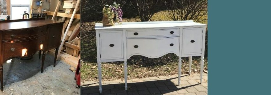 white buffet, lilac and lace co