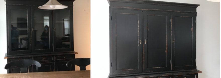 Black distressed hutch, before and after