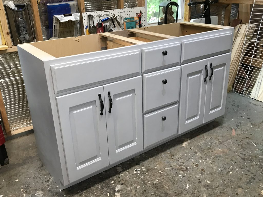 Bathroom Vanity After, Sherwin Williams Lazy Gray