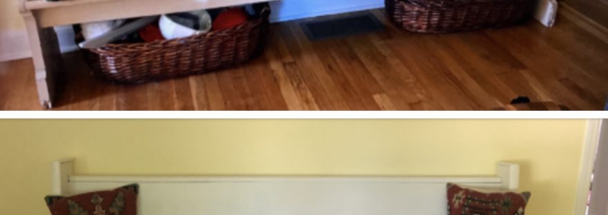 Upcycled church pew before and after