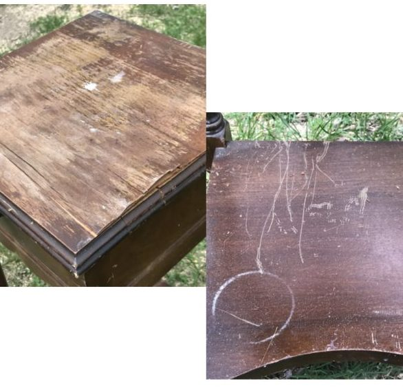 Side table before refinishing