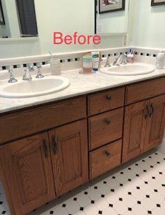 Builder grade oak vanity before