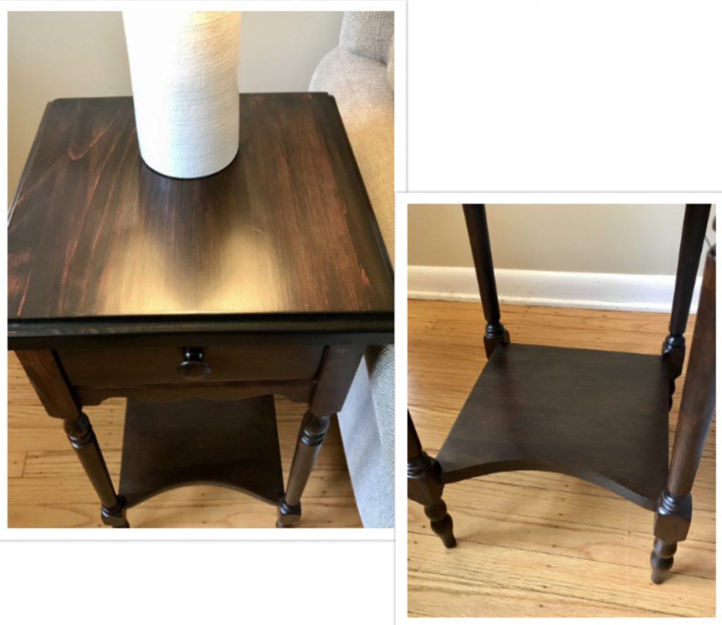 End table after refinishing