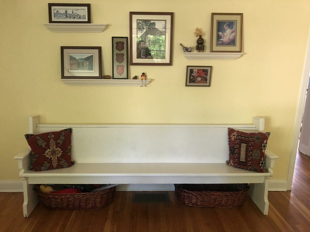 Upcycled church pew in ivory lace