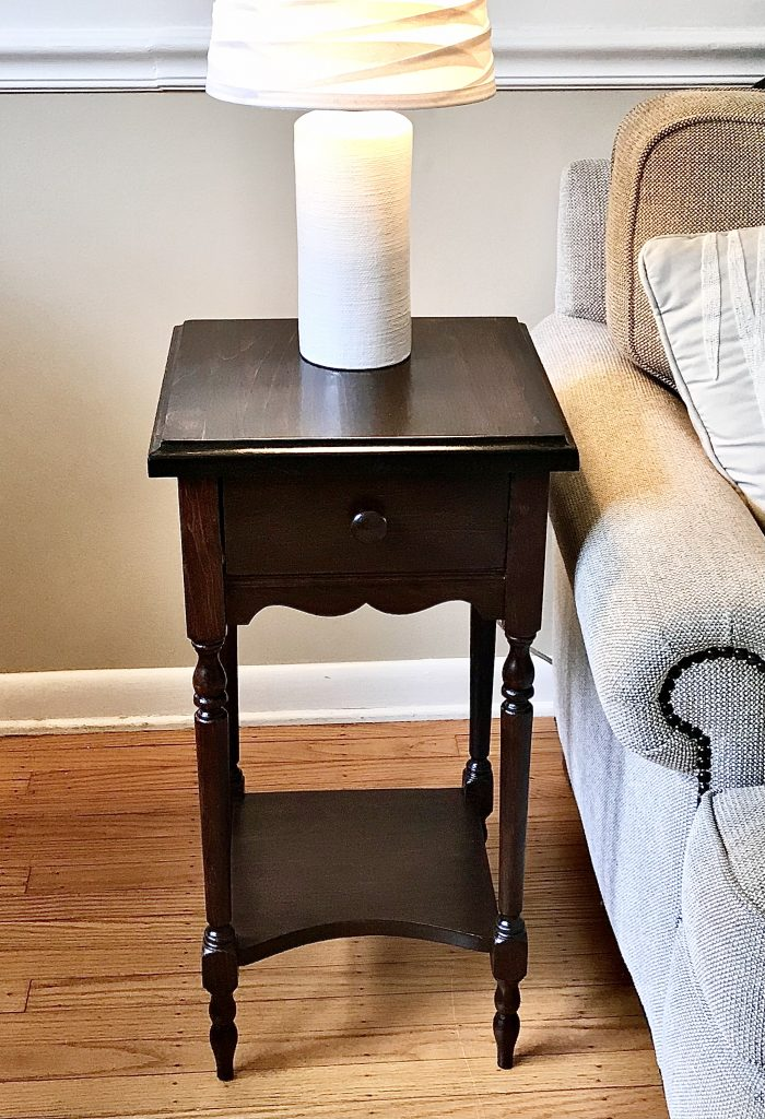 Side table after refinishing