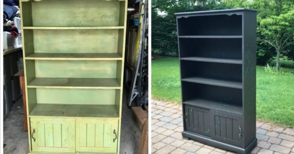 Bookcase with storage before and after