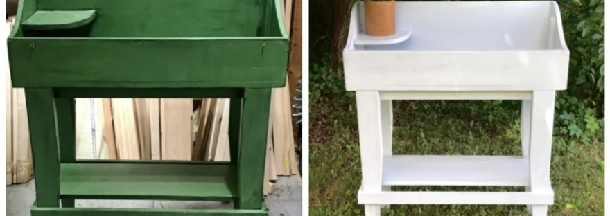 Potting bench before and after
