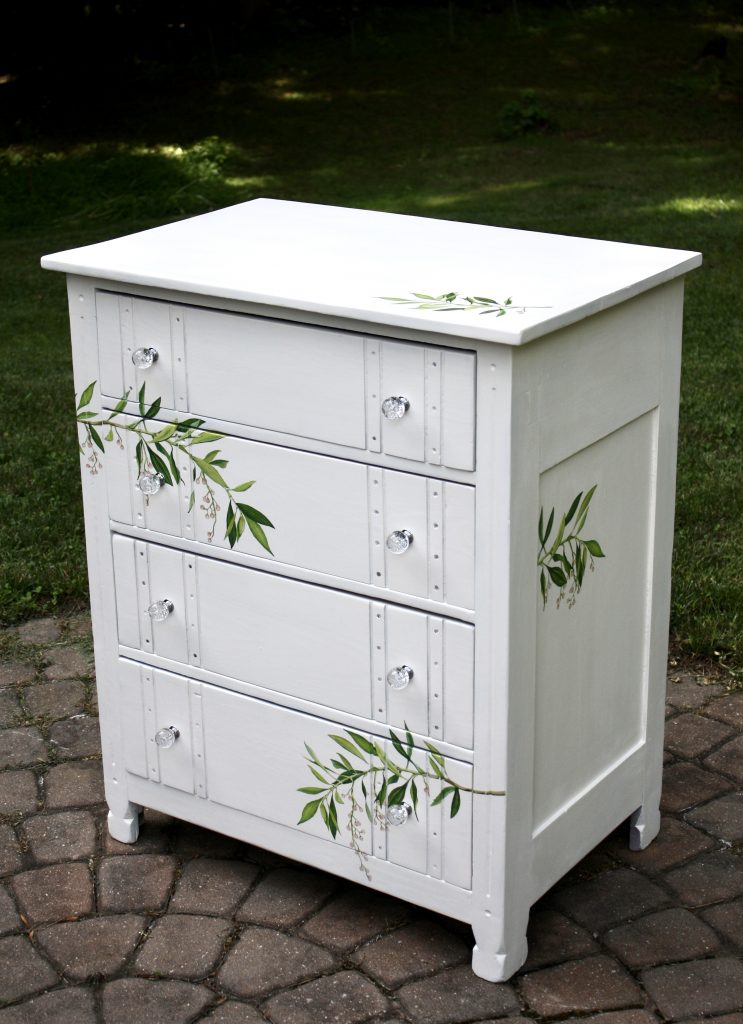 White 4 drawer dresser after with floral accents