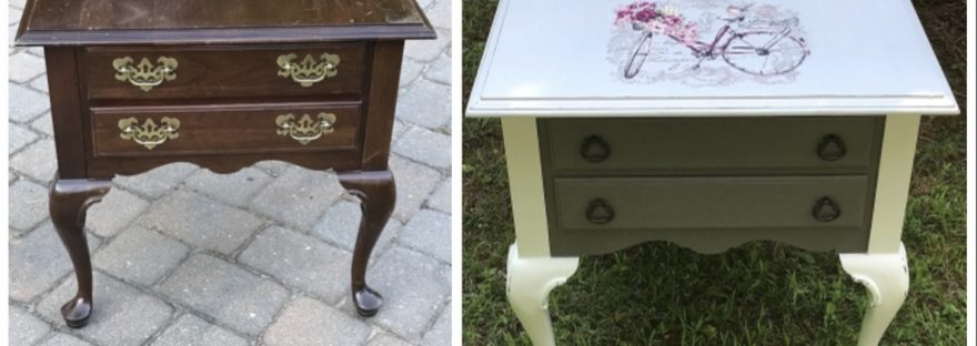 End table, light and dark gray with bicycle image, before and after
