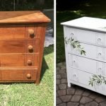 White 4 drawer dresser before and after with floral accents