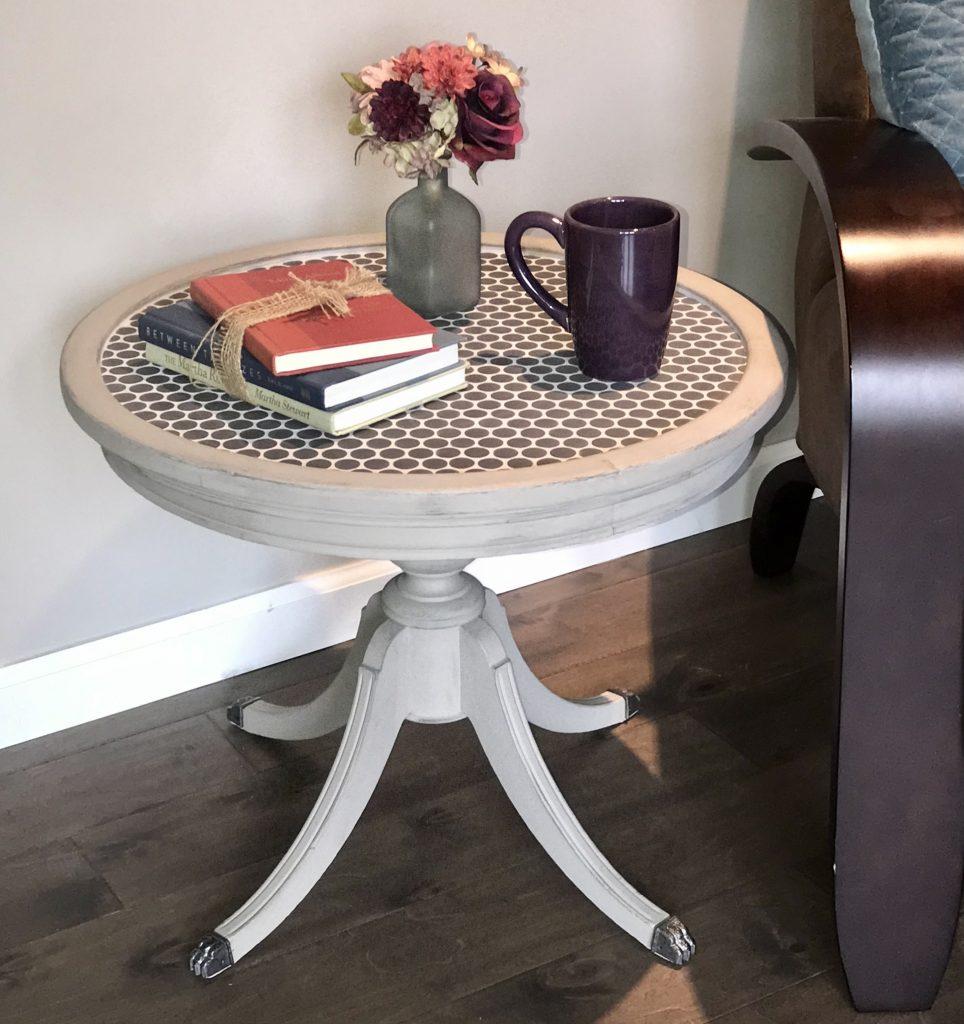 Tile top side table, penny tile