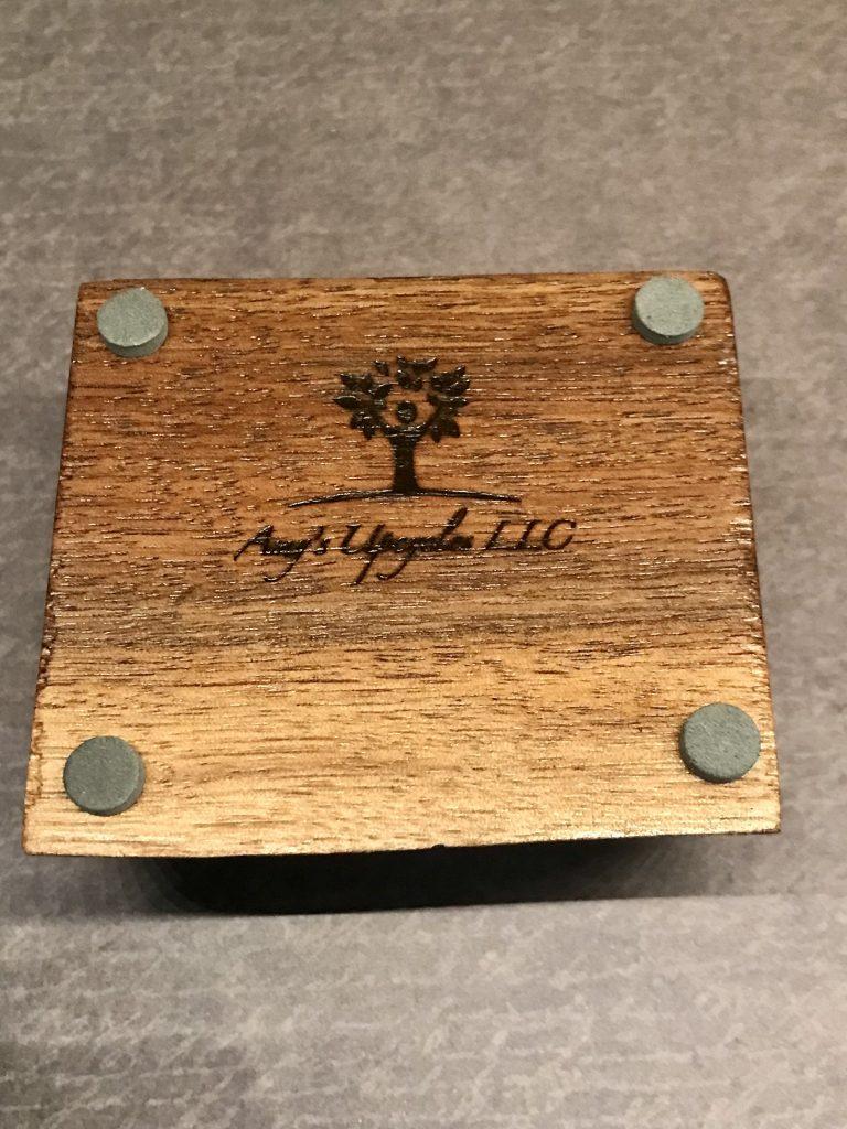 Live-edge walnut business card holder