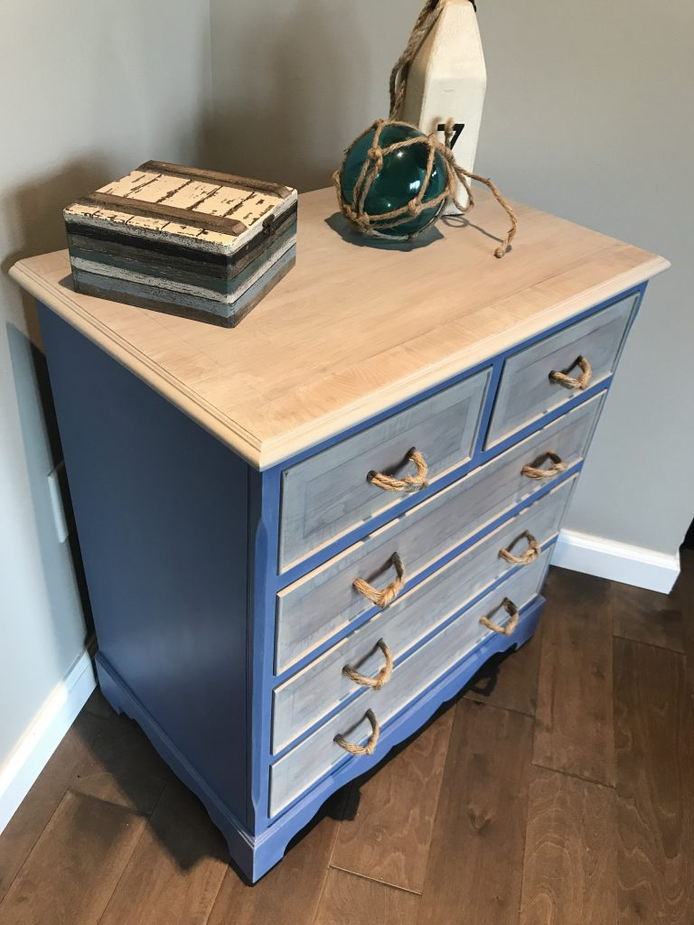 Small dresser makeover after-coastal vibe with driftwood and ocean blue finish